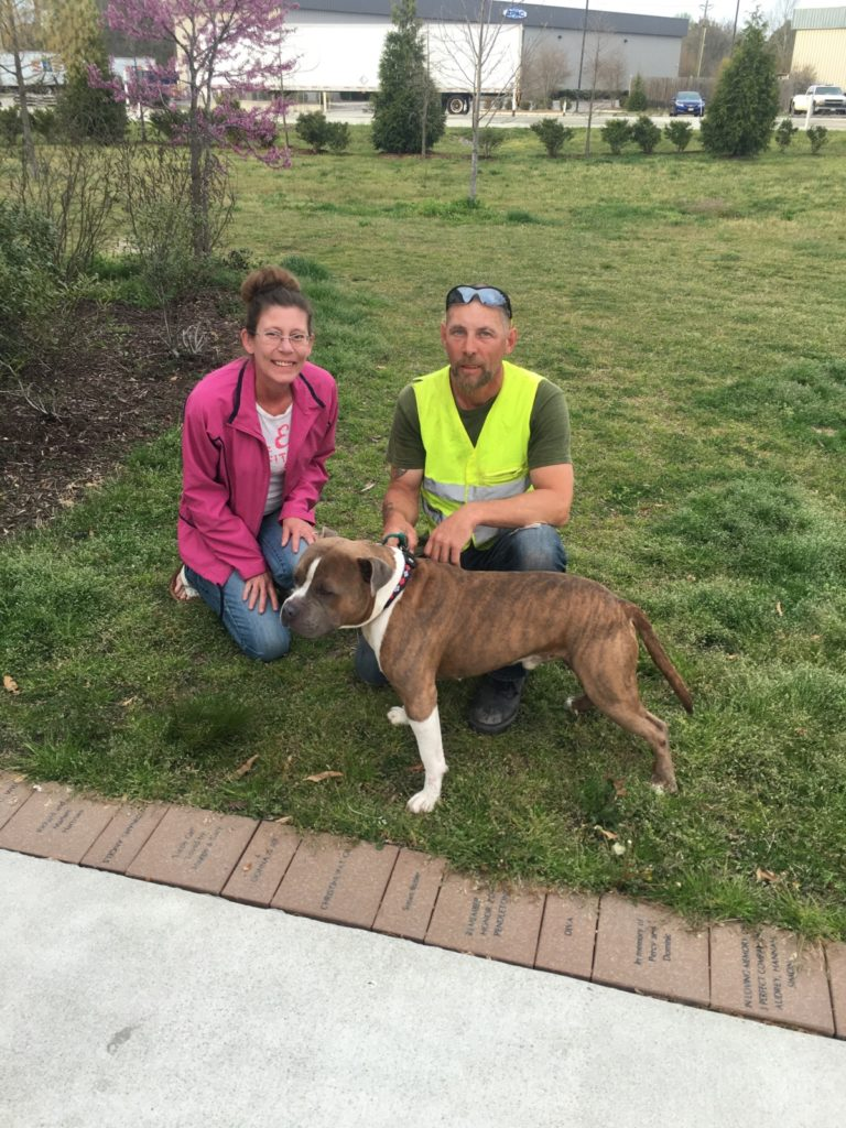 Obi-Wan with his officially adopted parents. He was successfully treated for heartworms thanks to generous donations to our Heart to Heart program.